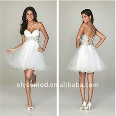 Luxurious Sweetheart Sparkling Beads/Appliques Tulle Mini/Short White Homecoming Dress on AliExpress.com. 5% off $75.00