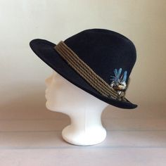 Womens fedora hat Authentic Austrian German traditional Loden hat fedora Black felt hat with feathers handmade hand shaped by SuitcaseInBerlin on Etsy