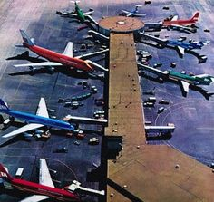 The Braniff Terminal of the Future 1968-1972 Dallas Love Field With Jet Rail service and a rotunda concourse