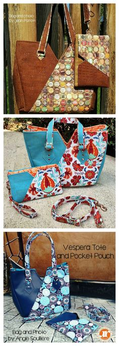 Instant digital download. The Vespera Tote and bonus Matching Pocket Pouch. When you want more than your average tote bag, the Vespera Tote delivers • Mix and match your favorite print with trendy cork, leather, or vinyl • Streamlined exterior slip pocket to keep your phone or other essentials handy • Easy carry handle • A removable long, adjustable shoulder strap.