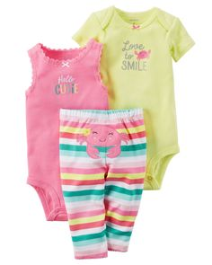 Baby Girl 3-Piece Little Character Set  Featuring a cute little crab on the bottom and two coordinating bodysuits, this babysoft cotton set lets her mix and match with essential pants.