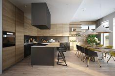 photo de maison design avec îlot central de cuisine