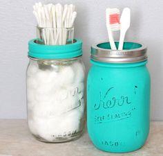 Mason Jar Bathroom Set   Dollar Store Organizing Ideas for Bathrooms