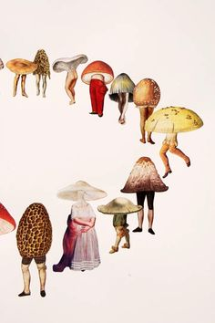mushroom people collage