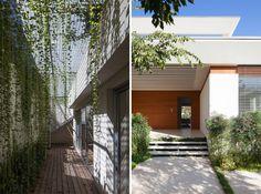 מימין: הכניסה לבית, רחבה ומקורה. משמאל: החצר האנגלית החפורה, שמאירה את קומת המרתף ( צילום: עמית גרון )