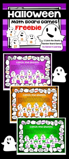 FREEBIES for Halloween - Halloween Number Games with 2 and 3 digit numbers Smart Board Activities, Math Board Games, Math Boards, Math Games, Number Games, Math Activities, Halloween Math, Halloween Ideas, Thanksgiving Math
