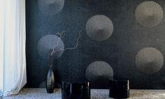 Elitis Glass Asian Cookies.  Embossed vinyl print wallpaper.