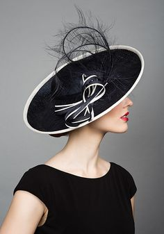 Rachel Trevor Morgan Millinery S/S 2015, R1573 Navy and white side sweep alive with ostrich feathers