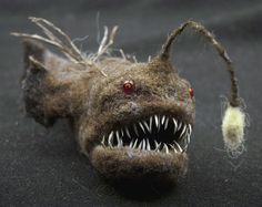 Anglerfish needle felted animal by Grisha Dubrovsky by strays