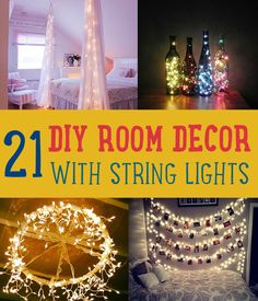 Diy room decor with string lights you can use year round diy projects & creative crafts – how to make everything homemade Easy Diy Crafts, Creative Crafts, Cute Diy, Room Decor For Teen Girls, Kids Room, Deco Led, Decorate Your Room, My New Room, Cheap Home Decor