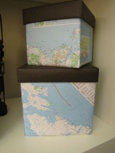 Make your own map boxes - so many ideas- French script, children's patterns, fabric in the bedroom....