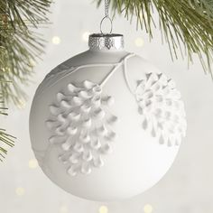 Yikes! A whopping 7.95/ @ pier1. But so pretty. Matte Pinecone Ball Ornament Christmas Colors, Holiday Ornaments, Christmas Tree Ornaments, Christmas Holidays, Christmas Decorations, Painted Christmas Ornaments, Hand Painted Ornaments, Handmade Christmas, Paper Embroidery