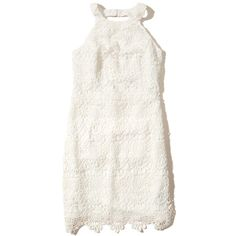 Hollister High-Neck Lace Bodycon Dress (£46) ❤ liked on Polyvore featuring dresses, white, high neck dress, white day dress, body con dress, white dress and scalloped dress