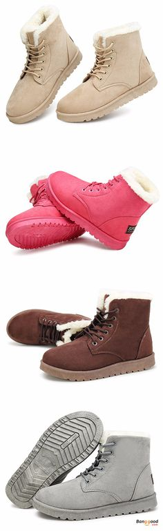 US$24.39 + Free shipping. Size: 6-9. Color: Black, Gray, Brown, Camel, Watermelon Red. Fall in love with casual and warm style! Winter Ankle Snow Boots Lace-up Flat Suede Warm Fur Lining Shoes.
