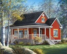 This cute and compact country cottage plan has a charming wraparound front porch which expands the livability of this design Style Cottage, Cute Cottage, Red Cottage, Romantic Cottage, Shabby Cottage, Cottage Chic, Shabby Chic, Future House, Plan Chalet