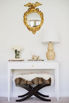 gold + leopard + white fur + fresh white roses, just a few of my favorite things!!
