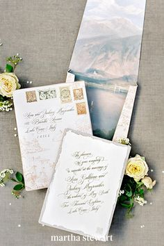 The wedding invitations envelop is one area of wedding planning where you should get creative. Here, a snow-capped mountainscape was a seasonal way to line the box mailer for this suite from The Idea Emporium. #weddingideas #wedding #marthstewartwedding #weddingplanning #weddingchecklist Fall Wedding Invitations, Wedding Stationery, Autumn Inspiration, Wedding Inspiration, Flourish Calligraphy, Modern Romance, Bohemian Bride, Papers Co, Stationery Design