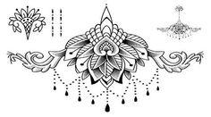 Ceylon Lace Lotus Chandelier Underboob Rib Temporary Tattoo at MyBodiArt.com