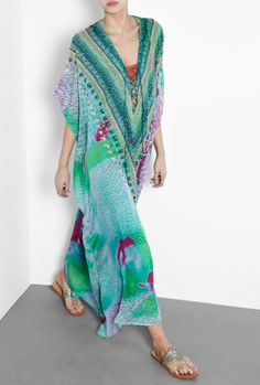Long silk Kaftans for Women   Camilla   Abyss Mermaid Long Lace Up Kaftan with Swarovski Crystals by ...
