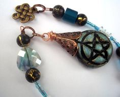 Clay Pentacle Pendulum Blue and Black Pagan Wicca Divination