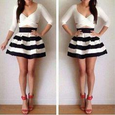 Slim striped long-sleeved dress #ER122410KU