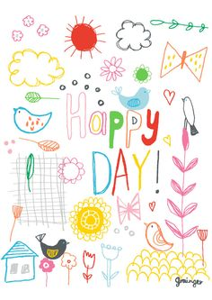 Happy Day Print by Lesley Grainger