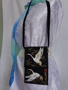 Flying Cranes Mari Lifestyle Bag by GoldenThreadsFabArt on Etsy, $29.00