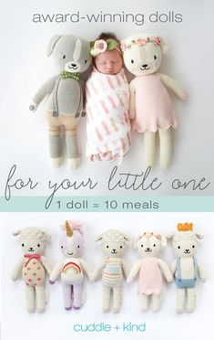 Every cuddle+kind doll is lovingly handcrafted with natural, premium cotton yarn and provides 10 meals to children in need. There are 24 award-winning, fair t Baby Shower Gifts, Baby Gifts, Everything Baby, Knitted Dolls, Baby Love, Baby Baby, Cuddling, Baby Dolls, Birthday Personality