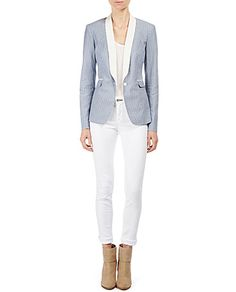 Call me crazy, but I actually kind of like this Andrea Jacket after i saw it on a model. I love it paired with the white pant. Very easy to femme up with some pretty, bright coloured accessories. :)
