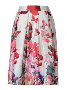 Butterfly Floral Print Midi Skirt in White | Choies