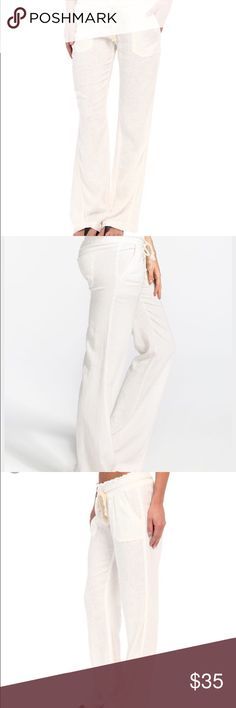"Roxy white Oceanside linen pants Brand new without tags Roxy ""Oceanside"" white Linen pants. Perfect for this hot weather. Roxy Pants Boot Cut & Flare"
