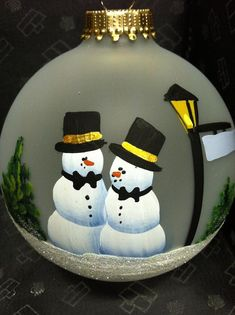 Mr. & Mr. Frosty Family Christmas Ornaments, Christmas Balls, Couple Presents, Marriage Couple, Wedding Ornament, Jolly Holiday, Star Ornament, Paint Designs, Glass Ornaments