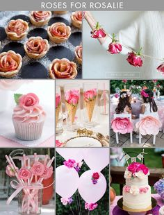 Inspiration and ideas for a rose-themed birthday party for kids. These are all so beautiful! First Birthday Party Themes, Frozen Birthday, Birthday Bash, Girl Birthday, Birthday Ideas, Cake Banner, 1st Birthdays, Party Entertainment, Party Planning