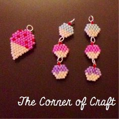 Delicious ice cream and cupcake bead weaving pieces. Made using brick stitch!