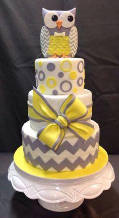 Owl Cake - Gray & Yellow Fondant