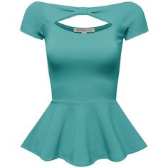 FPT Womens Short Sleeve Peplum Top (S-3XL) ($18) ❤ liked on Polyvore featuring tops, shirts, peplum tops, blue peplum top, shirt tops, blue shirt, short sleeve shirts and short sleeve tops