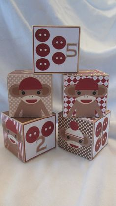 Retro Sock Monkey Boys Wood Blocks Nursery Room by TheBlockSpot, $22.50