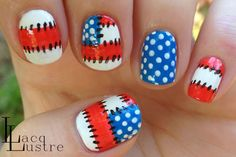 Patriotic Patchwork 4th of July Nails