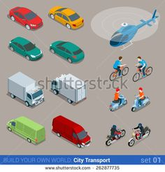 #isometric city #bus #car, #bicycle, #helicopter