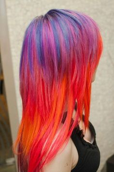 Sunset Hair Chalk Professional grade 4 sticks by ToriAndTheBees Funky Hairstyles, Pretty Hairstyles, Female Hairstyles, Summer Hairstyles, Flame Hair, Color Fantasia, Locks, Sunset Hair, Coiffure Hair