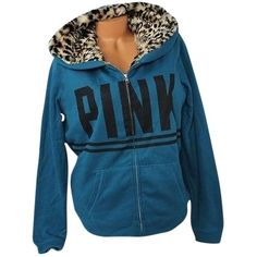 Pre-owned Victorias Secret Pink Faux-fur Lined Hoodie Jadeteal Green... ($131) ❤ liked on Polyvore featuring tops, green and victoria's secret