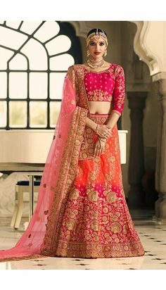 Orange #Pink Jute And #silk #Lehenga With Silk #Choli #LehengaCholi - DMV12023