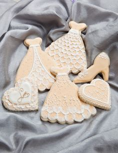 Brush embroidery decorated sugar cookies for wedding and bridal shower- dress, heart, shoe