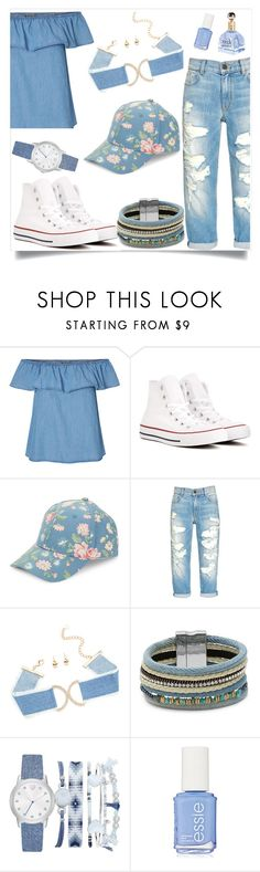"""""""Floral Hat"""" by tlb0318 ❤ liked on Polyvore featuring Converse, BCBGeneration, Design Lab and A.X.N.Y."""