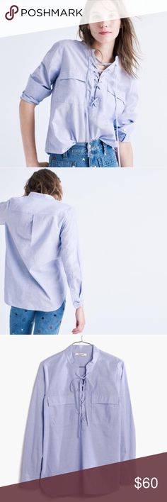 NWOT Madewell terrace lace up shirt waterfall blue Perfect condition, never worn and no flaws to note. I just don't like how the sleeves fit me - I'm tall/have long arms // this item is cross listed Madewell Tops