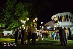 Love the balloon send off - such a fun idea for a #wedding!   Colman Photography