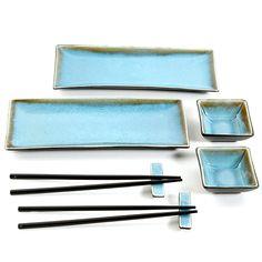 Gibson Amalfi 8-Piece Sushi Set in Turquoise