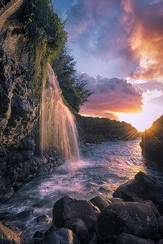 ~~Wai Kai ~ fresh river water cascades into an ocean pathway, Hawaii by Hawaii USA Fine Art Photography~~
