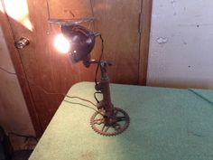 Desk lamp no 4. Bicycle parts and tractor lights