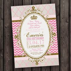 pink gold invitation, princess crown invitation